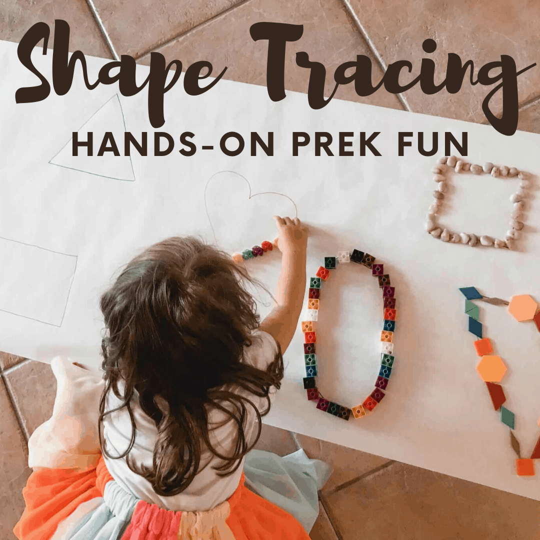 This hands-on activity not only teaches shapes for kids, but it focuses on fine and gross motor skills at the same time. Preschoolers will love it!