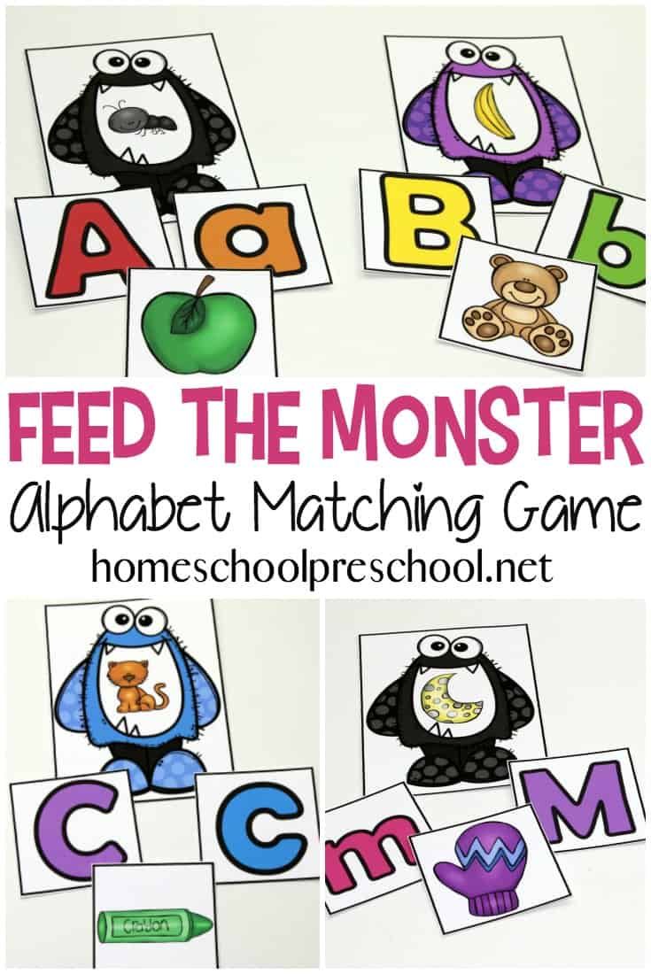 picture regarding Alphabet Matching Game Printable known as Cost-free Printable Feed the Monster Alphabet Match for Preschoolers