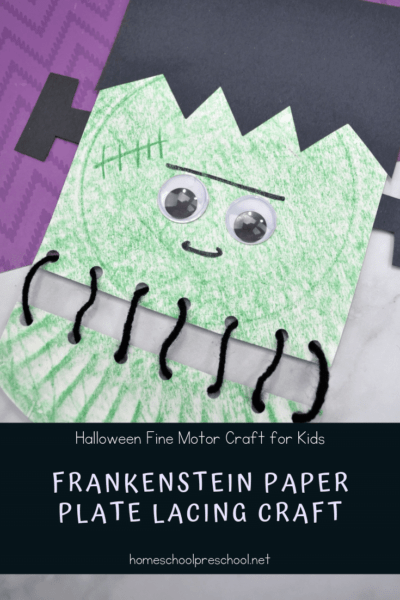 Kids will love building their fine motor muscles as they lace up this super fun Frankenstein paper plate craft. Perfect for Halloween preschool activities!