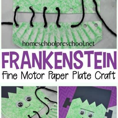 Frankenstein Fine Motor Paper Plate Craft