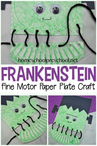 Your kids will love building their fine motor muscles as they lace up this super fun Frankenstein paper plate craft! Perfect for your Halloween crafting.