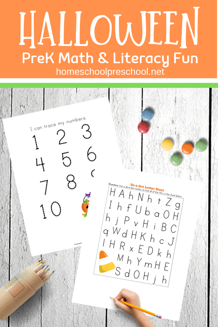 Download and print these educational Halloween printable activities for preschoolers! Focus on early math and literacy skills with your little ones.