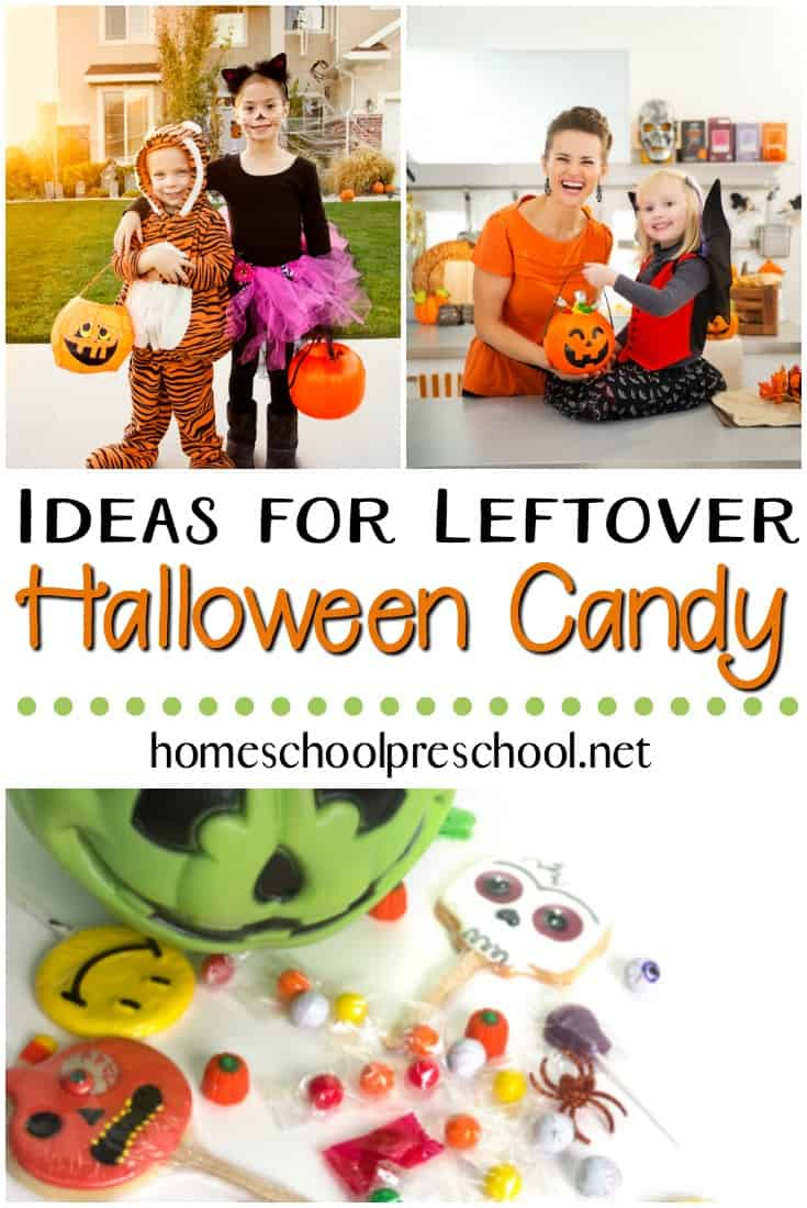 Are you looking for ways to use up your leftover Halloween candy? If so, check out these fantastic ideas that will get your kids' creative juices flowing! #homeschoolprek #Halloween #Halloweencandy #candyscience