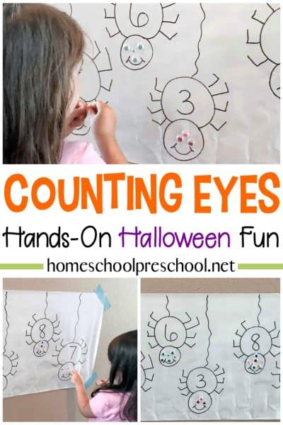 """Practice counting to ten with this """"Counting Spooky Spider Eyes"""" Halloween math activity. Perfect for Halloween and spider units."""
