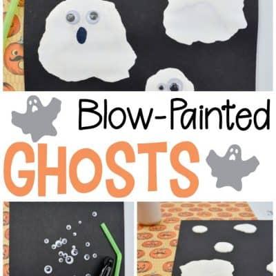 Blow Painted Ghosts Preschool Halloween Craft