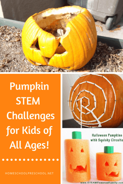 Bring pumpkins into your homeschool preschool lessons with these pumpkin theme activities! Kids will love these hands-on pumpkin STEM activities for kids.