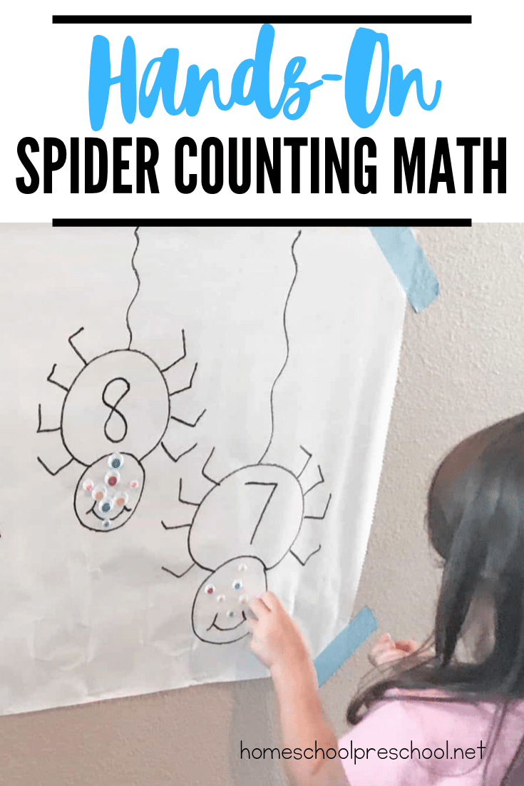 "Practice counting to ten with this ""Counting Spooky Spider Eyes"" hands-on spider math activity. Perfect for preschool Halloween and spider units."