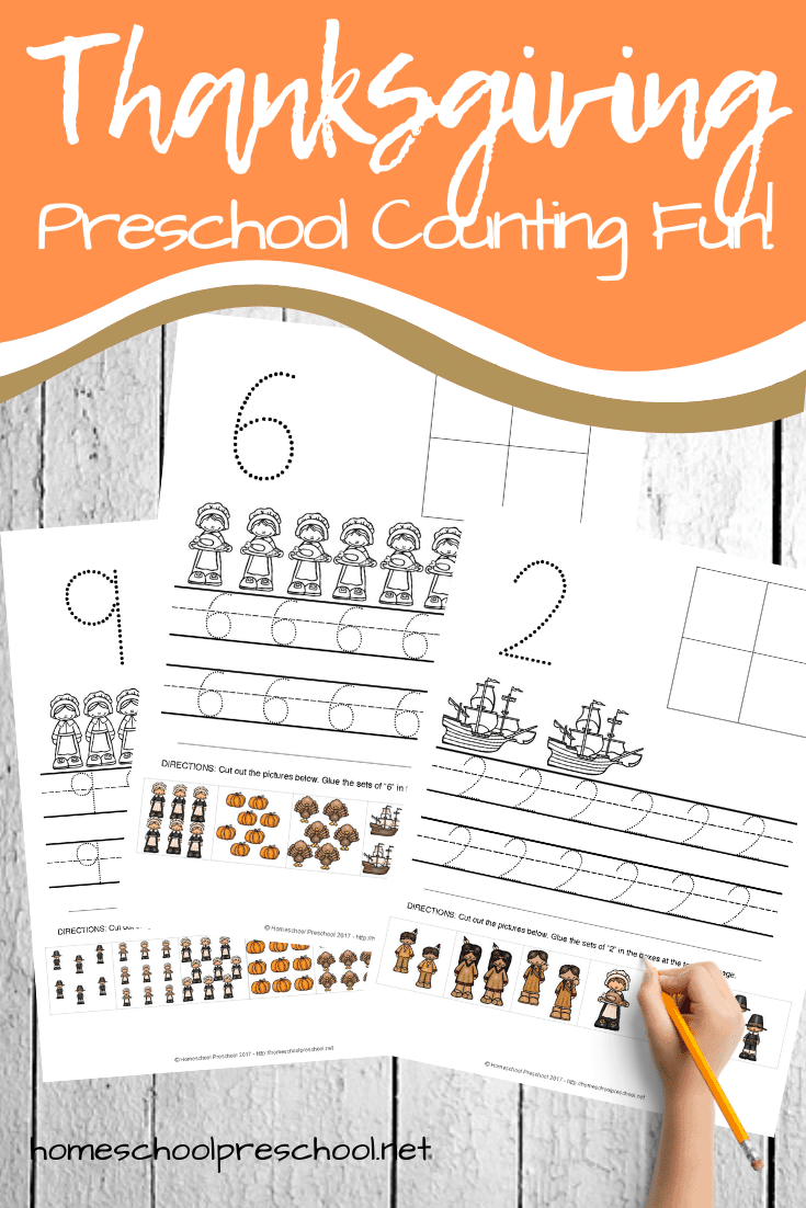 Your preschoolers will love practicing counting to ten with these Thanksgiving counting worksheets. Add them to your holiday math centers!