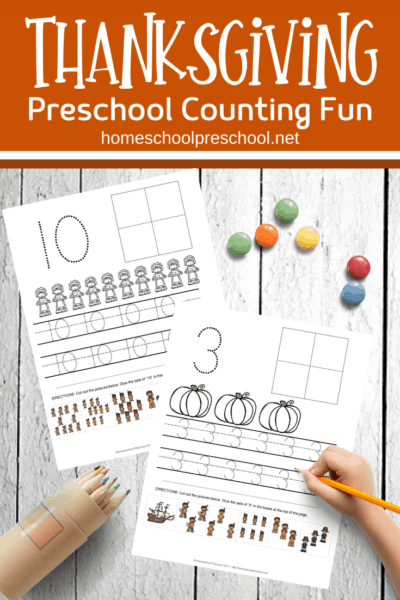 Your preschoolers will love practicing counting to ten with these Thanksgivingcounting worksheets. Add them to your holiday math centers!
