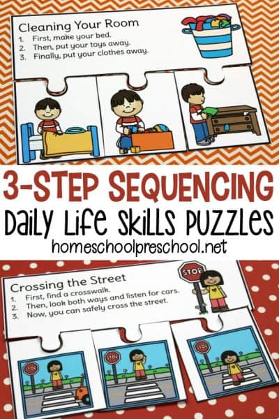 Kids can learn the order of things with these 3 step sequencing puzzles. Each puzzle features activities your preschoolers will encounter in their daily lives.