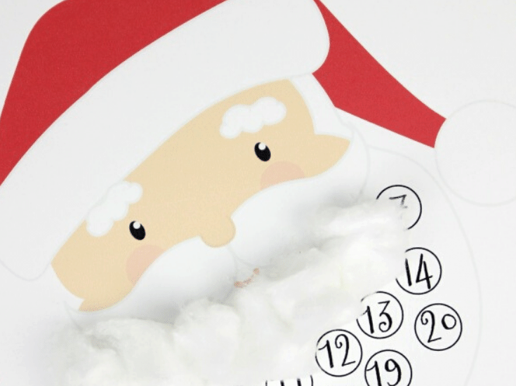 """Kids will love filling in Santa's beard with pom poms or cotton balls on this Christmas countdown template! No more """"how many more days"""" questions!"""