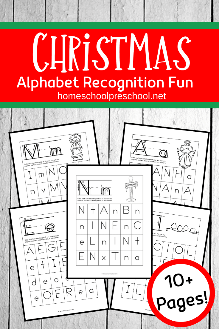 Are your kids struggling to focus on their homeschool preschool lessons? Add these Christmas alphabet letters scavenger hunt pages to your holiday lessons!