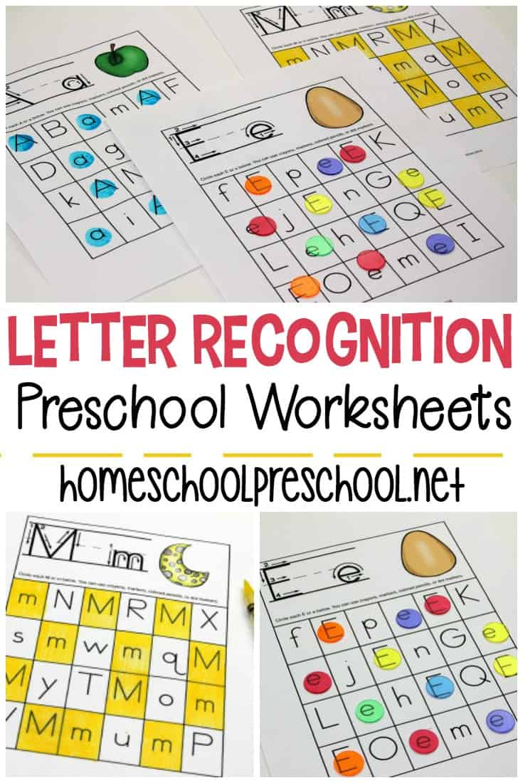 This set of free printable letter recognition worksheets will make a great addition to your alphabet activities for preschoolers. They can be used a variety of ways.
