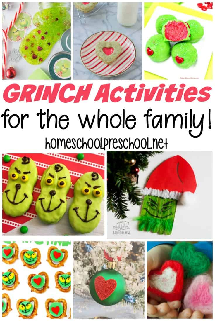 These Grinch activities for kids are perfect for a holiday movie night and for play dates. Discover crafts, activities, and snacks for your festivities! #grinchactivities #grinchpreschool #howthegrinchstolechristmas
