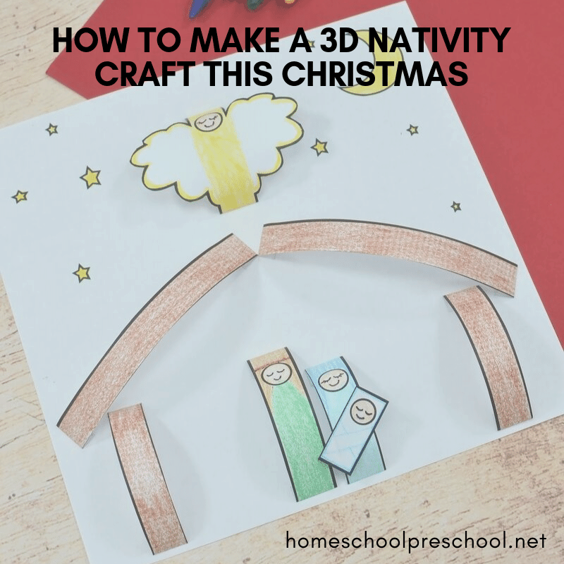 Even young crafters can make this 3D paper nativity craft this Christmas season. Perfect for preschoolers, Sunday School classes, and homeschool groups.