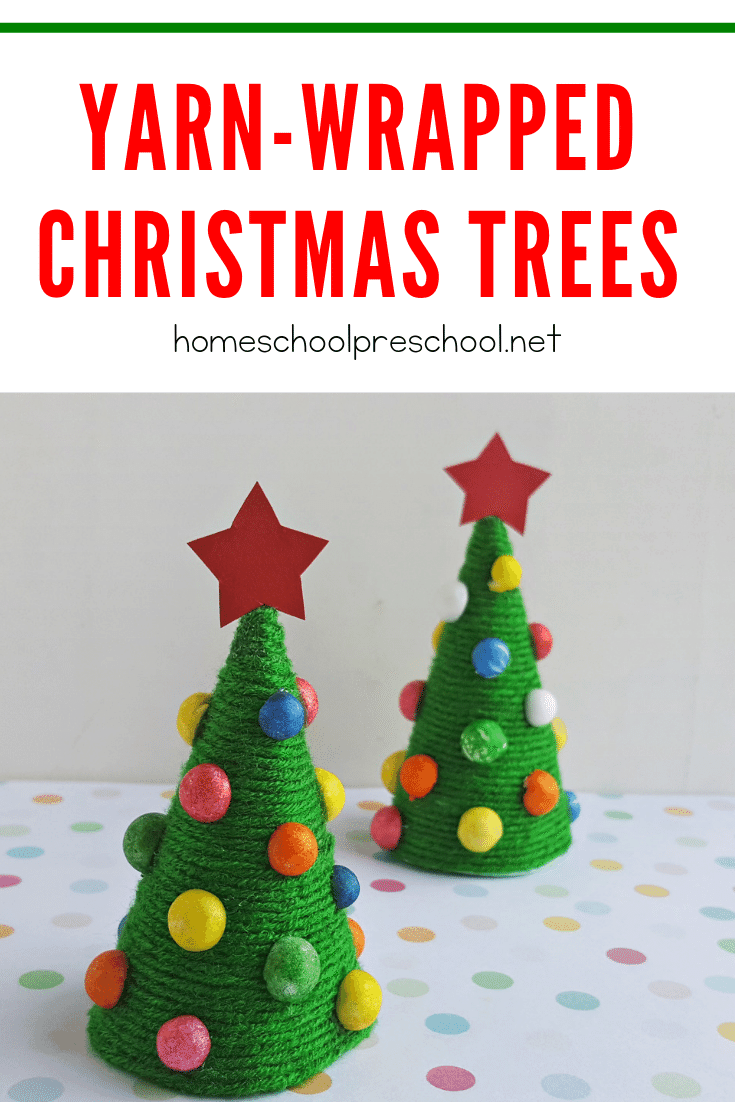 Are you looking for a fun preschool Christmas craft? Let your little ones make a yarn wrapped trees to decorate your home this holiday season.