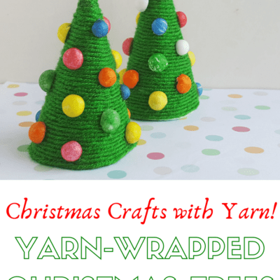 Yarn Wrapped Trees Preschool Christmas Craft