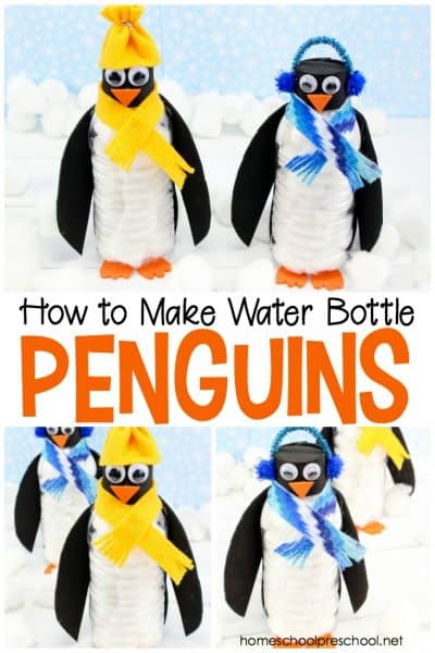 Preschoolers will love turning empty water bottles into penguins this winter! Follow this simple tutorial for a super easy (and oh so cute) preschool craft!