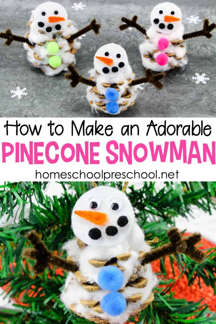 You won't believe how easy it is to turn an ordinary pinecone into an adorable preschool snowman craft! Read on to discover a fun new winter craft for kids.