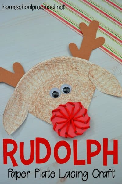 This cute reindeer paper plate craft not only gets kids in the Christmas spirit, but it helps them fine tune their motor skills as they lace the nose.