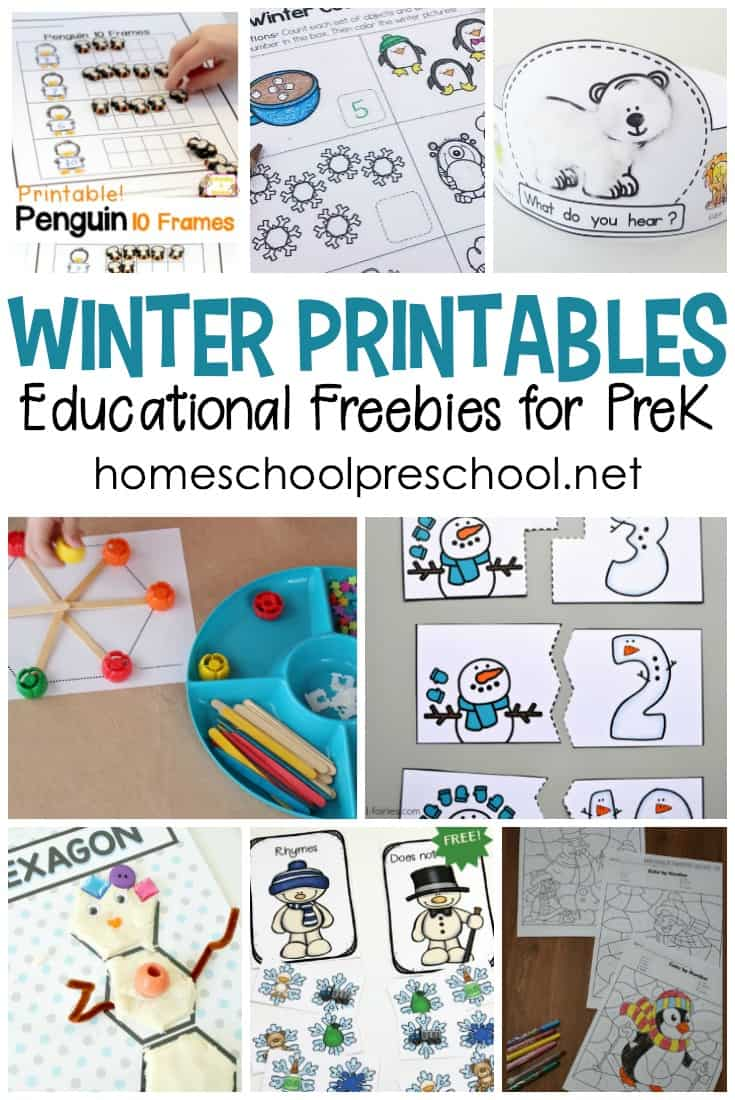 Whether you're working on math or literacy, don't miss this collection of winter printables for preschool. There are over twenty-five to choose from!