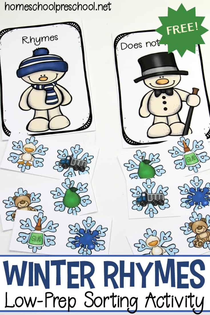 This winter, your young learners can work on rhyming words with this set of winter rhymes for preschoolers. This sorting activity is perfect for beginning readers.