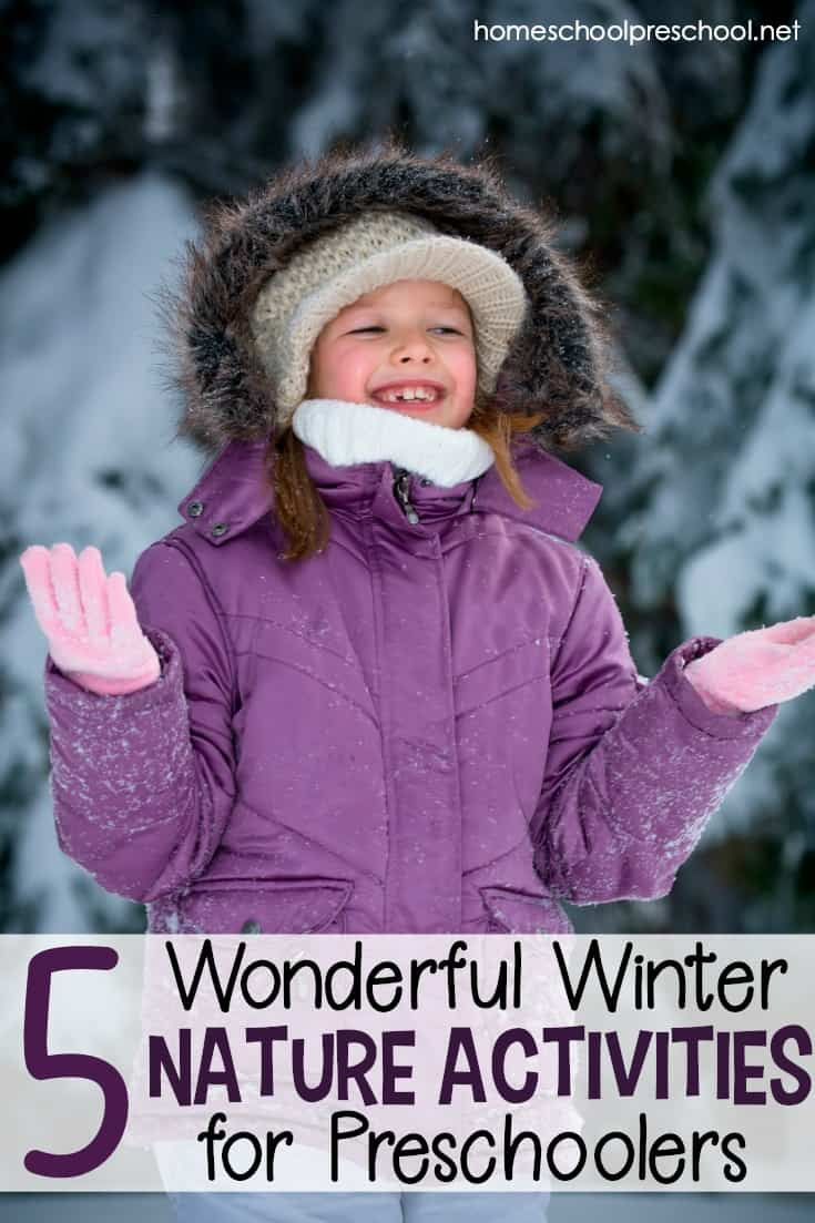 Have you headed outside to enjoy some fun winter nature activities with your preschoolers? If not, now's the time to go explore the uniqueness of winter. Whether you're experiencing snow or just colder temperatures, winter has so many unique opportunities to see things in nature that you can't see any other time of year.  Step outside, and start exploring with your preschoolers today.