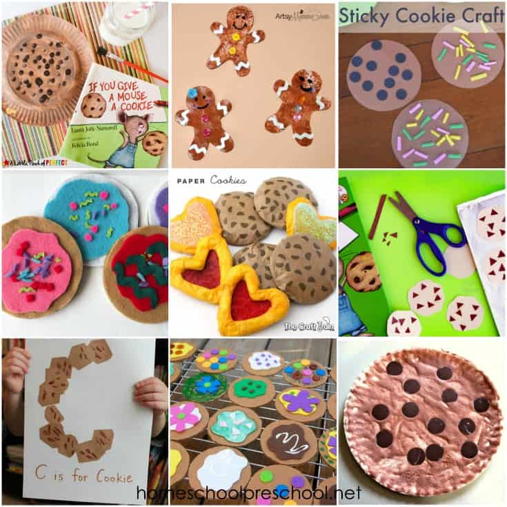 These cookie crafts for preschoolers are perfect for your letter of the week activities or to do alongside your favorite cookie-themed picture books!