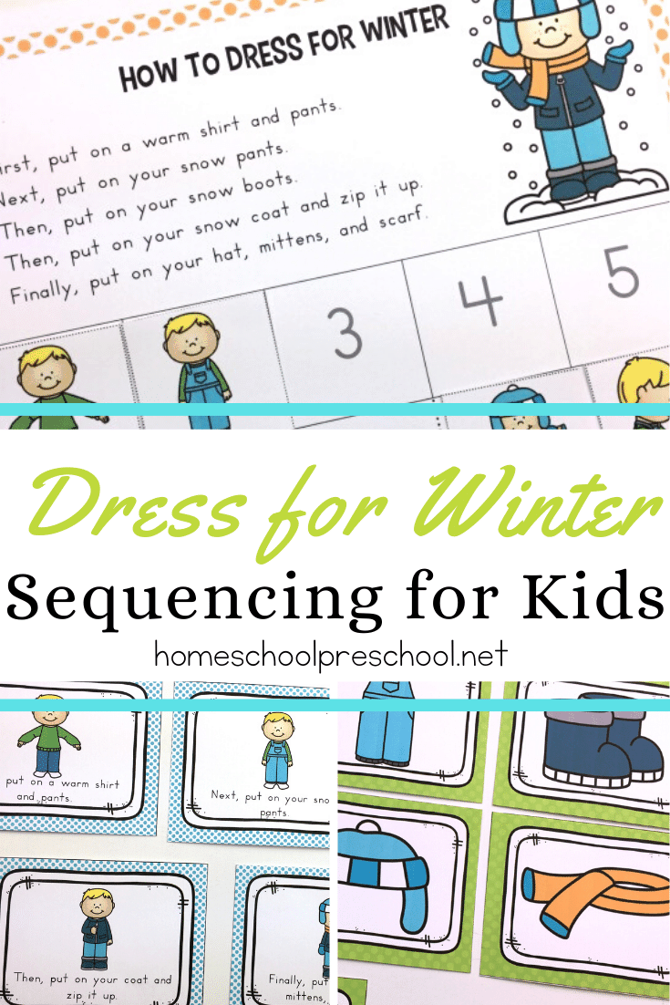 This How to Dress for Winter sequencing for preschoolers activity pack is a great visual to help little ones practice independence as they get dressed this winter.