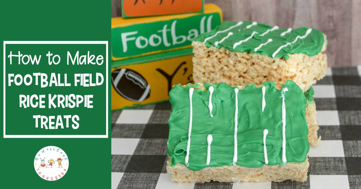 Super Bowl Sunday is around the corner! Show up at your Super Bowl party with this football rice krispie treat snack that's easy enough for kids to make.