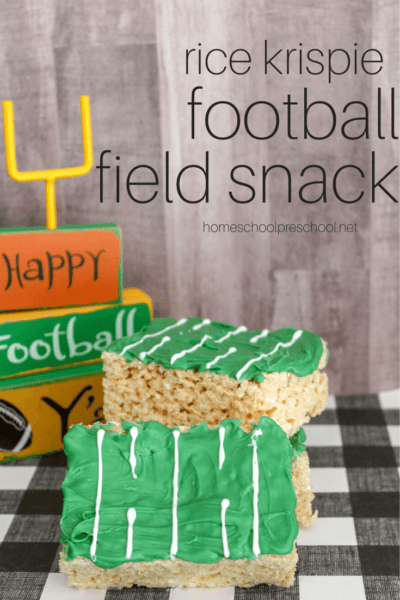 Super Bowl Sunday is around the corner! Show up at your Super Bowl party with a Rice Krispie Treat Football Fieldsnack that's easy enough for kids to make.