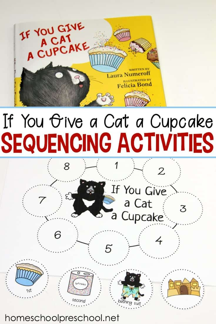 picture regarding Sequence Cards Printable called If By yourself Provide a Cat a Cupcake Tale Sequencing Playing cards