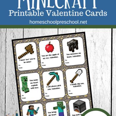 Minecraft Valentines Day Cards