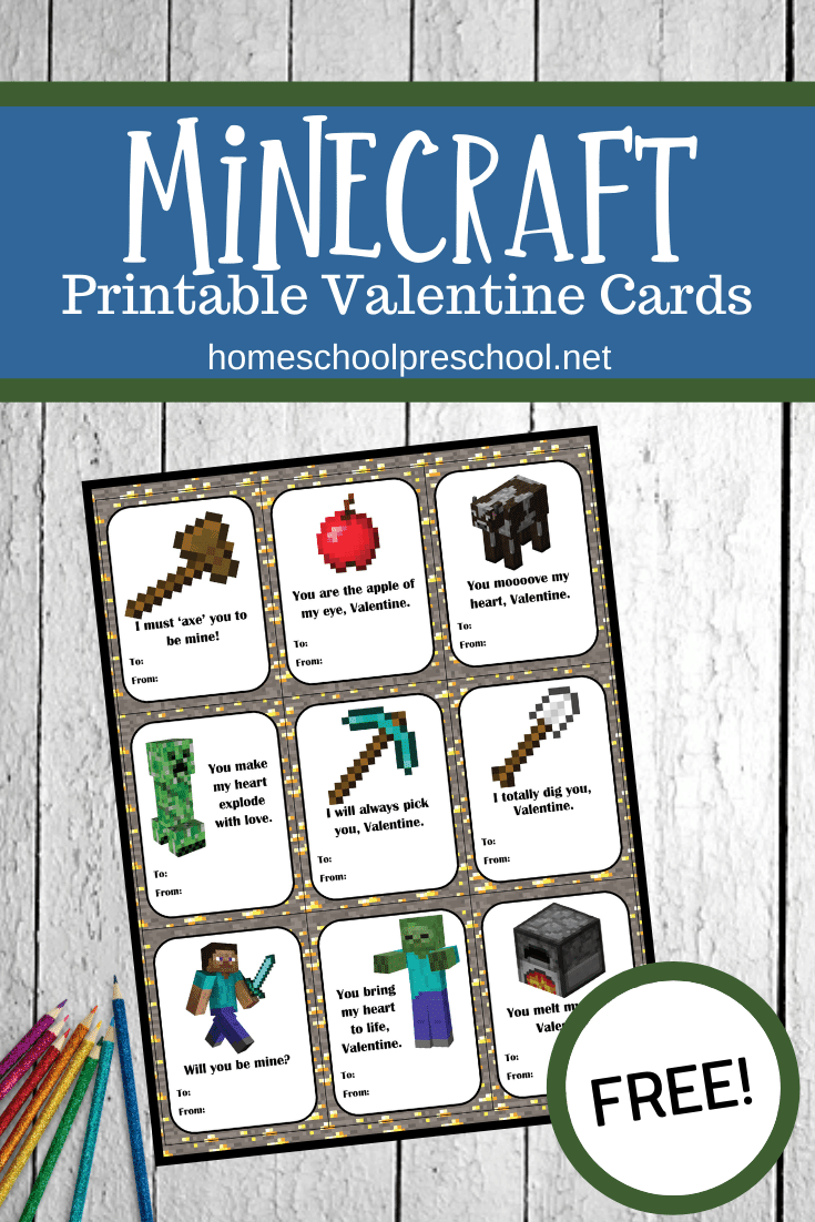 These Minecraft Valentines Day cardsare perfect for classroom parties or sharing with loved ones. Just print them out, sign them, and go!