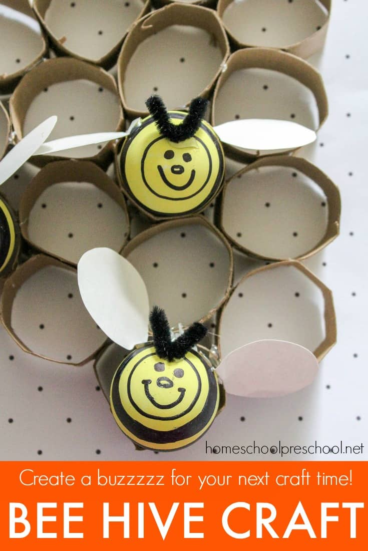 Planning a bee themed unit for your young learners? This preschool bee craft is perfect! With just a few supplies, your kids can make a fun bee hive craft.