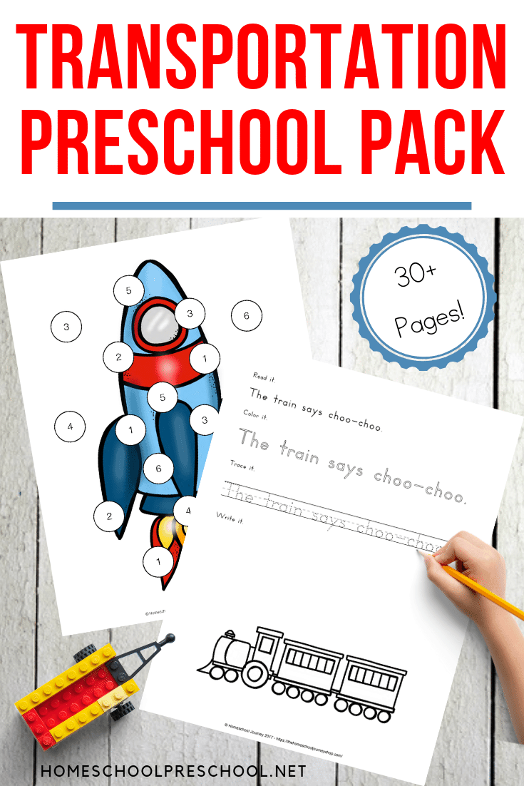 FREE 40-Page Preschool Transportation Theme Printables