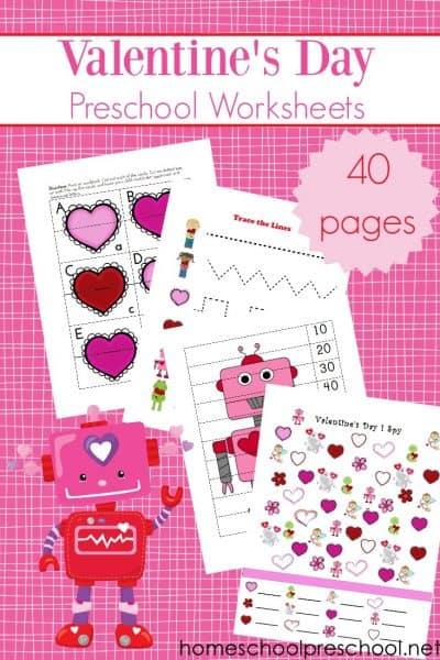 Printable Valentine Worksheets for Preschoolers