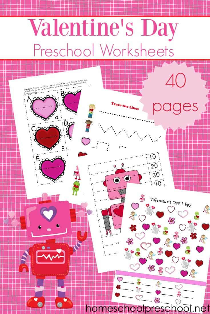 Printable valentine worksheets for preschoolers