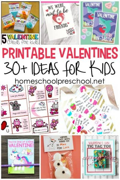 Do you need printable Valentine card ideas for preschool kiddos? I've got what you're looking for! Explore more than 25 printable Valentine cards for kids!