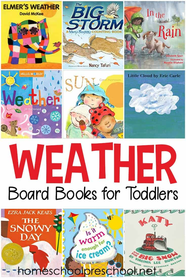 Check out this list of weather books for toddlers! These board books are perfect for your next weather unit for toddlers and preschoolers.