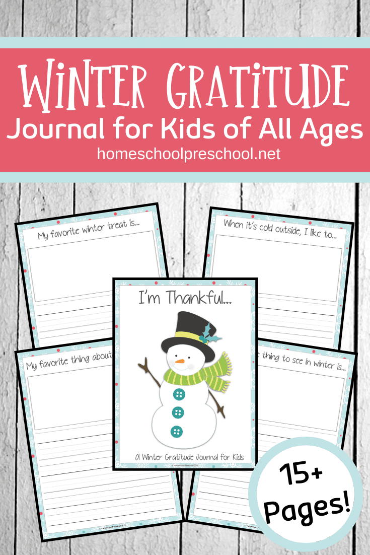 Gratitude isn't just for November! Kids can spend some time this winter focusing on the things they're thankful for with this winter gratitude journal for kids.