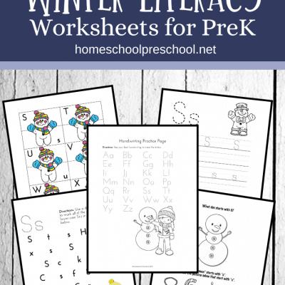Printable Winter Literacy Activities for Preschoolers