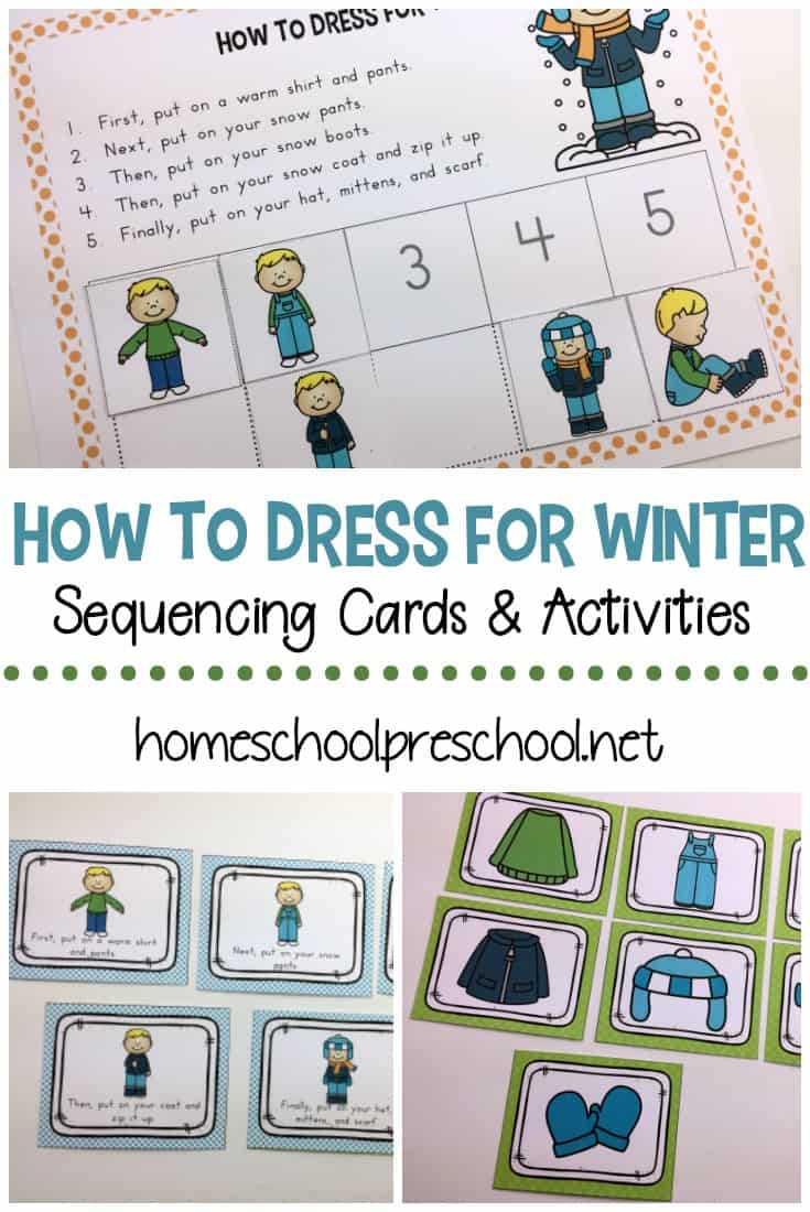 "This ""How to Dress for Winter"" sequencing for preschoolers activity pack is a great visual to help little ones practice independence as they get dressed this winter."