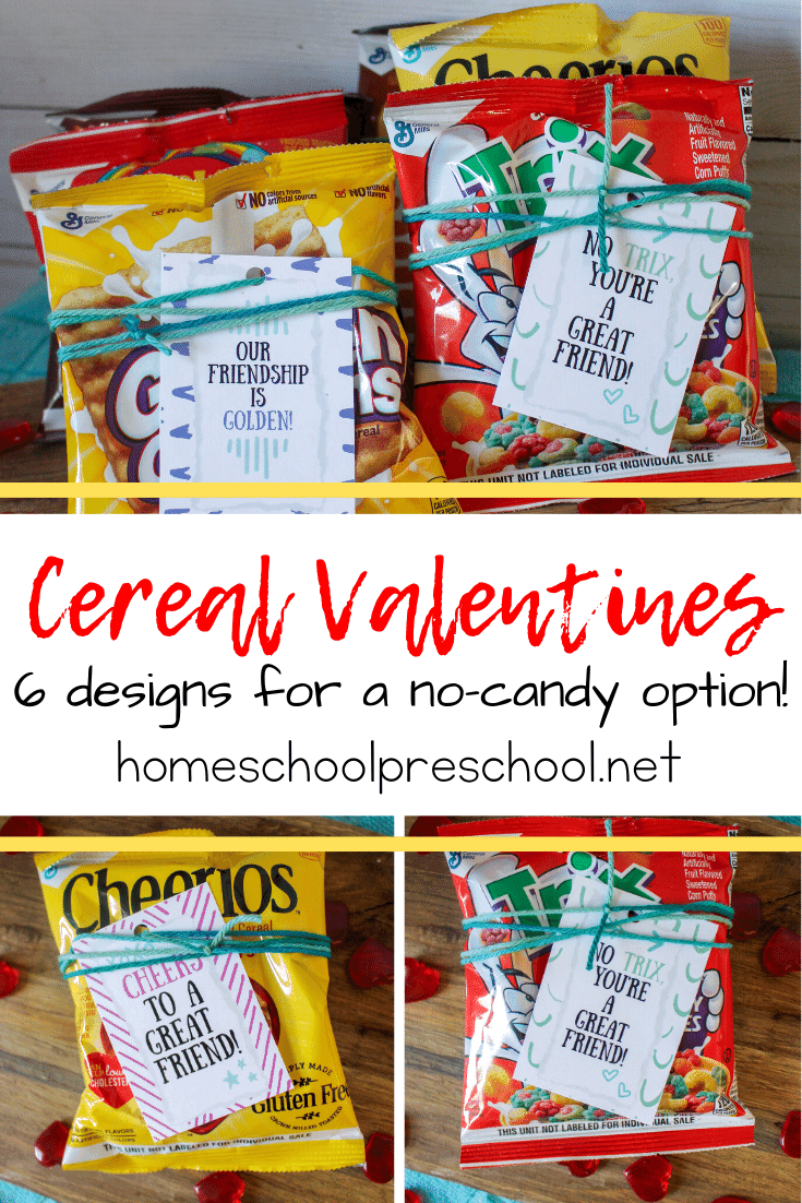 You're going to love this super simple Valentine idea. All you need is this set of cereal Valentines and some small boxes/pouches of cereal!