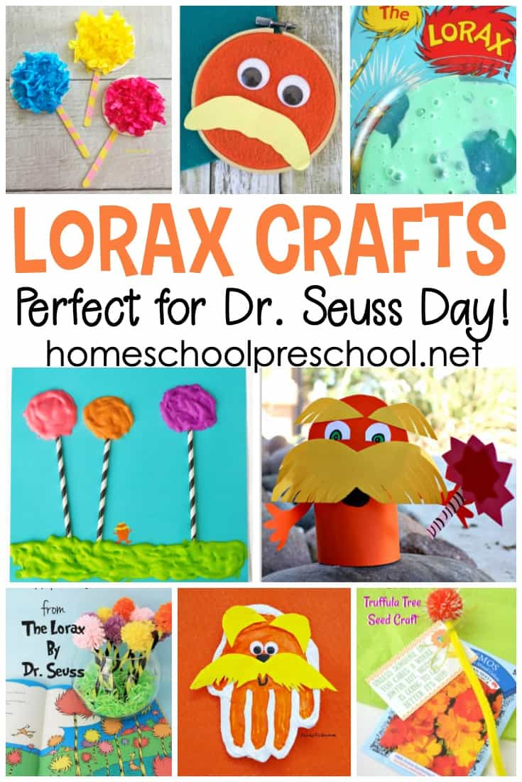 graphic regarding Truffula Seeds Printable named Dr. Seuss Things to do: 20 Lorax Crafts for Preschoolers