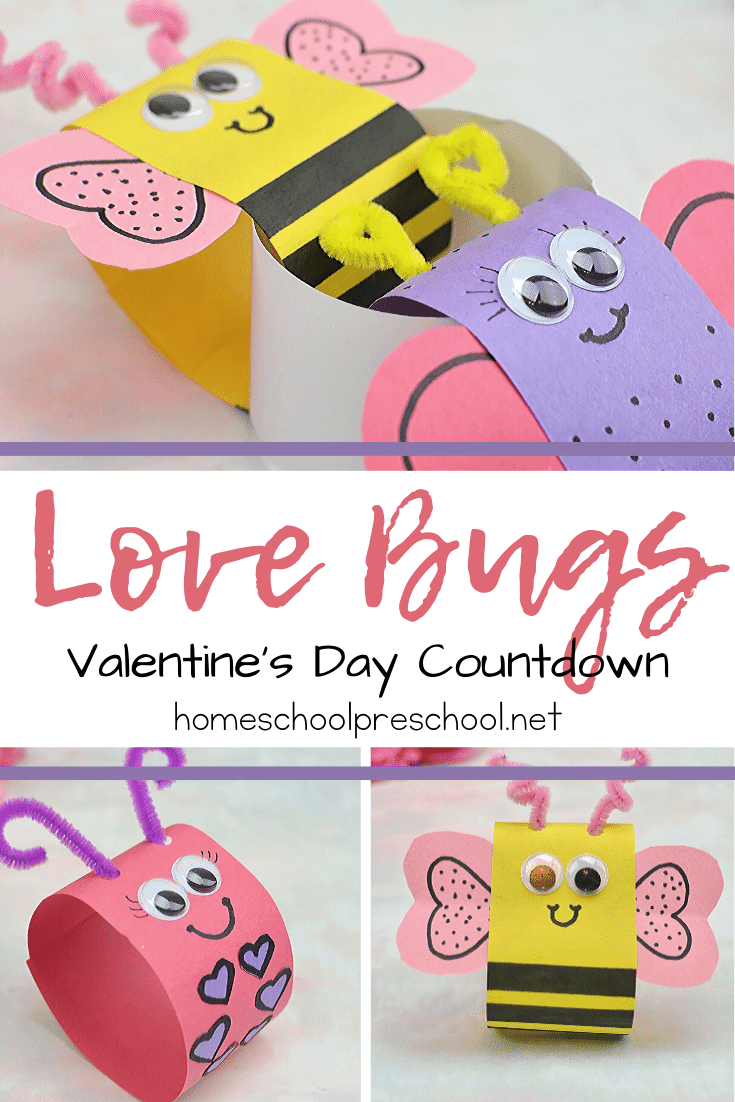 Your kids will love helping you make this Love Bug Valentines Day countdown chain! What a cute decoration that provides a little counting practice, too.