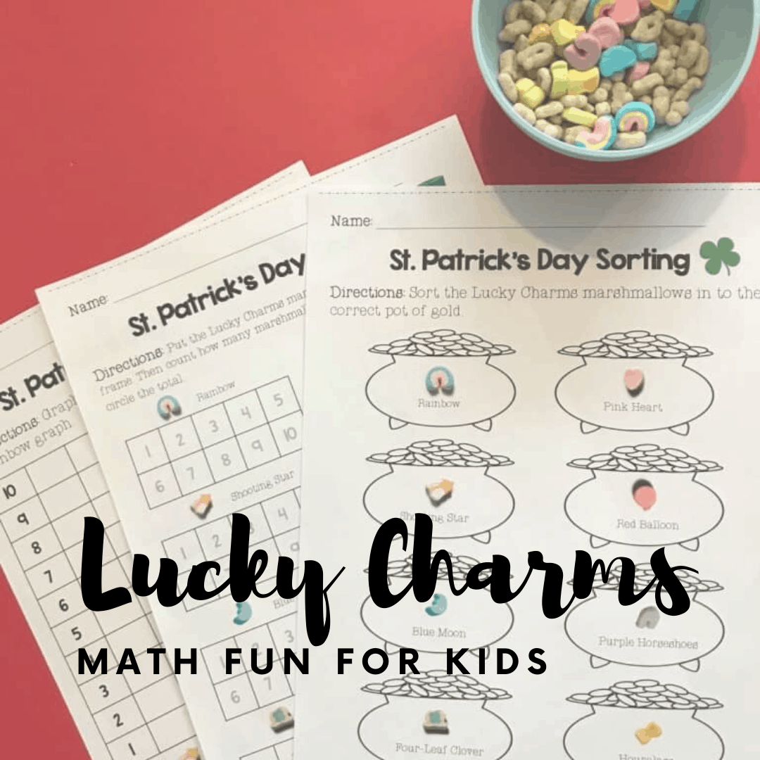 Kids will love sorting, counting, and graphing with Lucky Charms. These St Patrick's Day math worksheets for preschoolers are festive and fun!