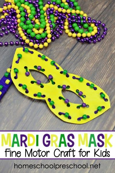 You don't want to miss this festive Mardi Gras paper plate craft for kids! Come see how to turn a paper plate into a fun beaded Mardi Gras mask for kids to wear!