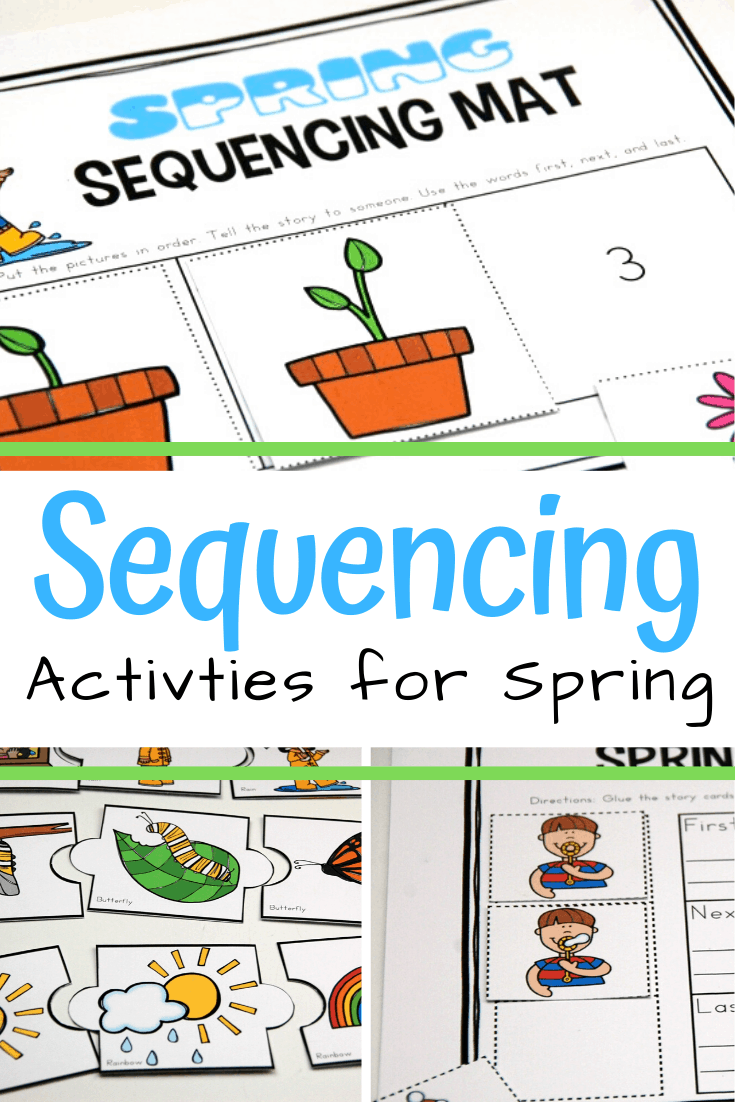 Don't miss thesespring sequence cards that include puzzles, a sequencing mat, and storytelling page for 3 step sequencing cards.