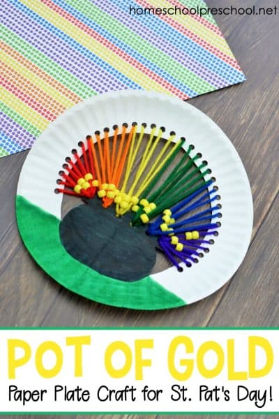 Preschoolers can work on fine motor skills as they create this pot o' gold paper plate craft for kids. It's the perfect addition to your St. Patrick's Day activities.